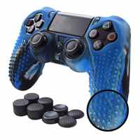 Anti-slip Silicone Cover Skin Grip Compatible for PS4 /SLIM /PRO controller(Camouflage Controller skin x 1 + FPS PRO Thumb Gri