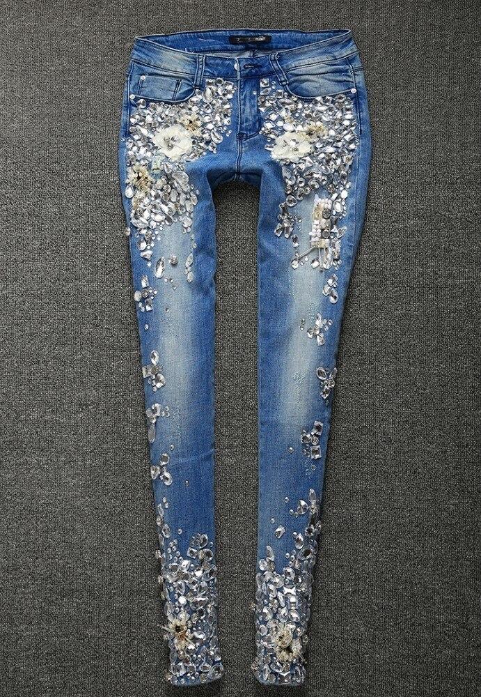 Mode diamants appliques crayon denim pantalon femmes jeans coton trous 2019 printemps nouveautés