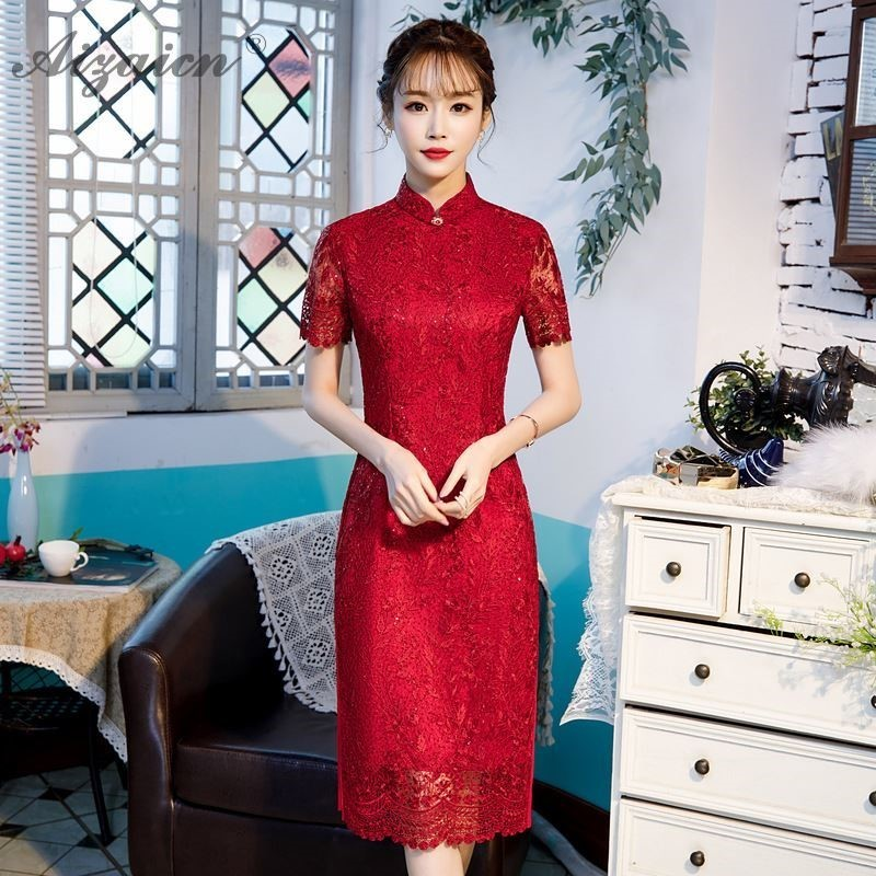 2019 New Lace Long Gown Bridesmaid Qi Pao Fashion Red Sequins Cheongsam Dress Chinese Evening Dresses Women Robe Oriental Style