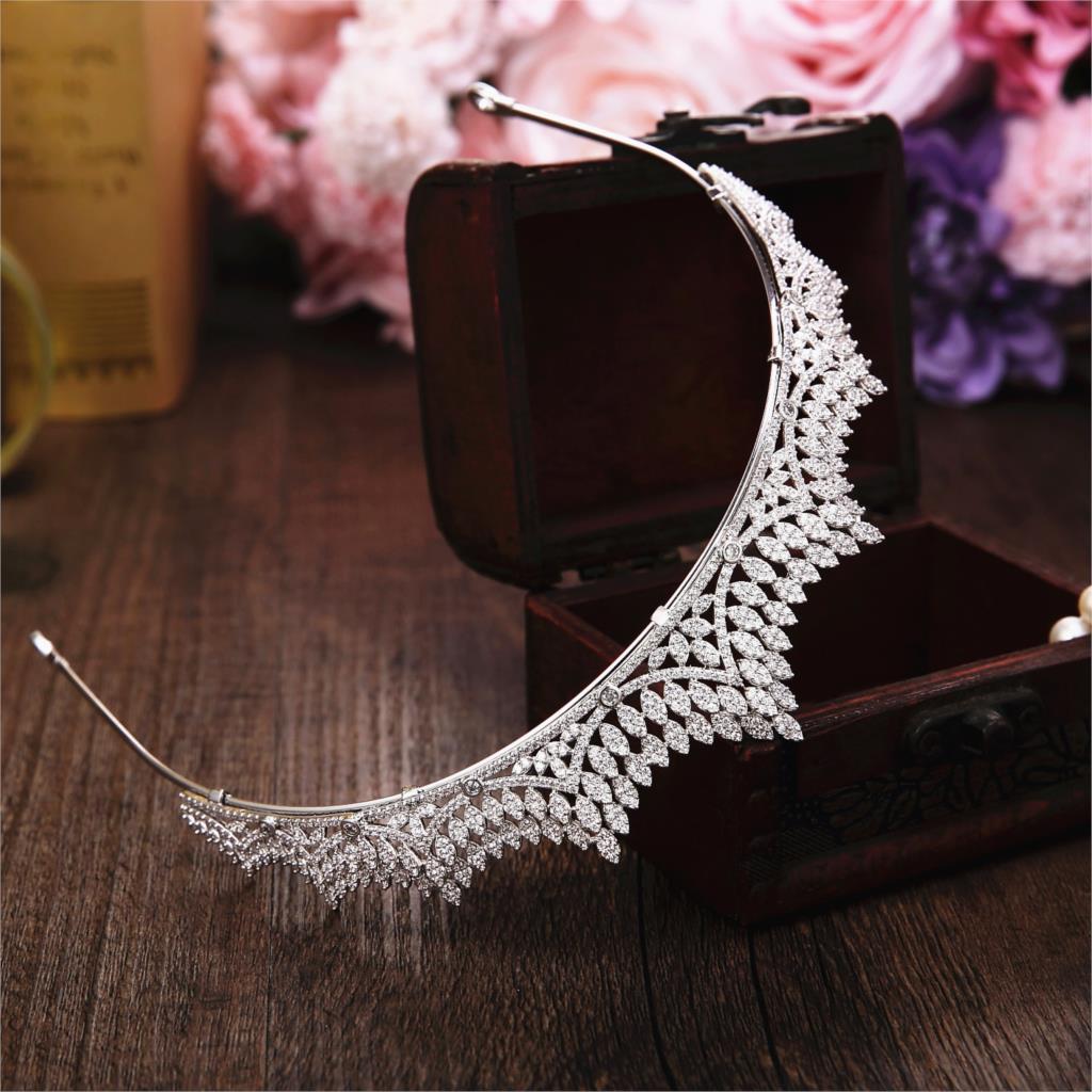 Micro Paved Full Cubic Zircon Tiara Luxury Zirconia Crown Wedding Hair Accessories Bride Large CZ Coroa