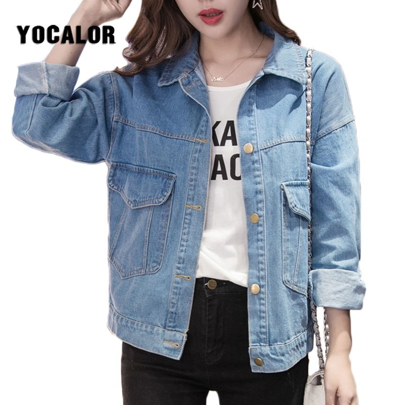2019 Autumn Bf Denim Jeans Spring   Jacket   Cowboy Loose Female Coat Women Chaqueta Mujer   Basic     Jackets   For Boyfriend Cloak Clothes