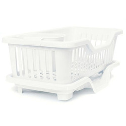 Kitchen Sink Dish Plate Utensil Drainer Drying Rack Holder Basket Organizer Tray White