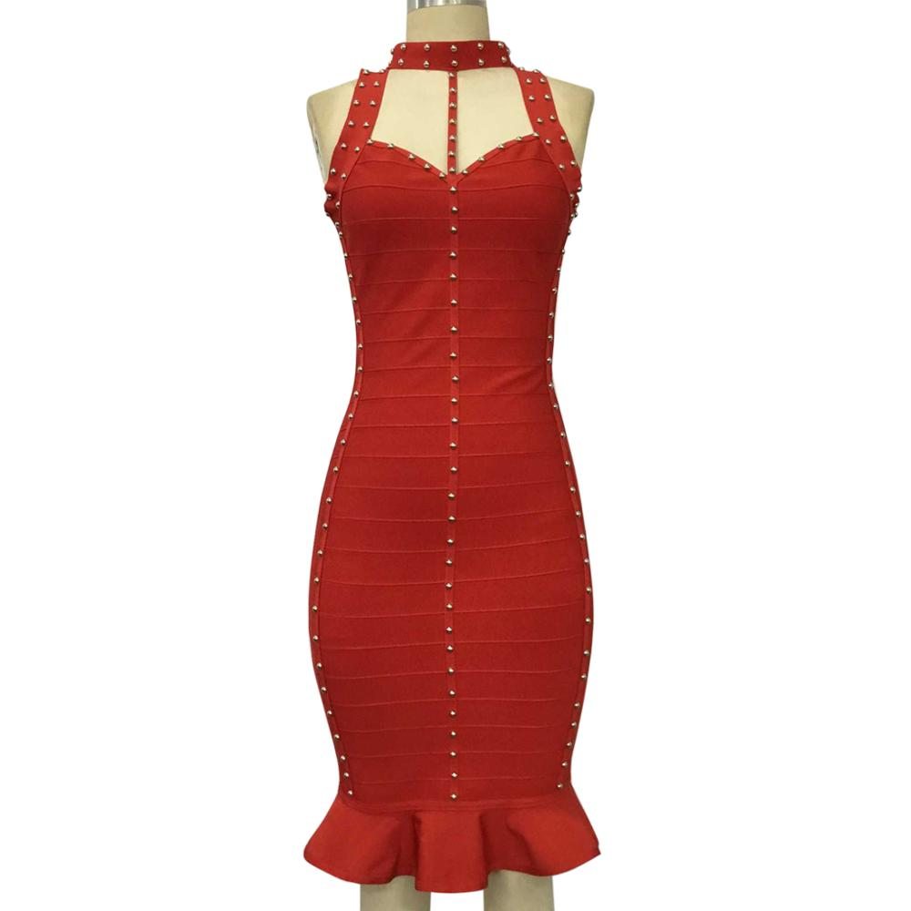 KAOUYOU Red Bodycon Dress Women Bandage 2018 Body con Sleeveless Evening Party Knitted Clubwear J081