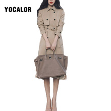 2018 Vintage England Style Trench Autumn Long Duster Coat For Women  Windbreaker Overcoat Plus Size Female 8f0a1ae51c14