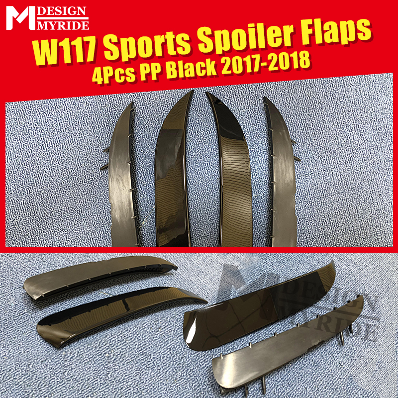 For W117 Rear Spoiler Flaps Air Flow Vent Rafts PP 4-Pcs Benz CLA180 CLA200 250 Sports Splitter Wing 17-18