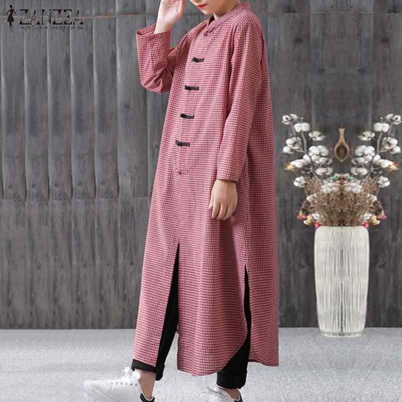 ZANZEA женское клетчатый плед длинное платье женское s мандарин длинный рукав пуговицы Vestido Повседневный кафтан халат макси платья плюс размер 5XL