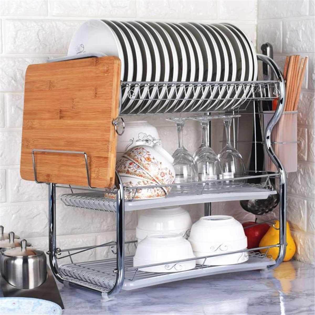 3 capas de acero inoxidable soporte de cubertería estante cubiertos plato de cocina en estante de almacenamiento drenaje almacenamiento estante de cuchillo nuevo