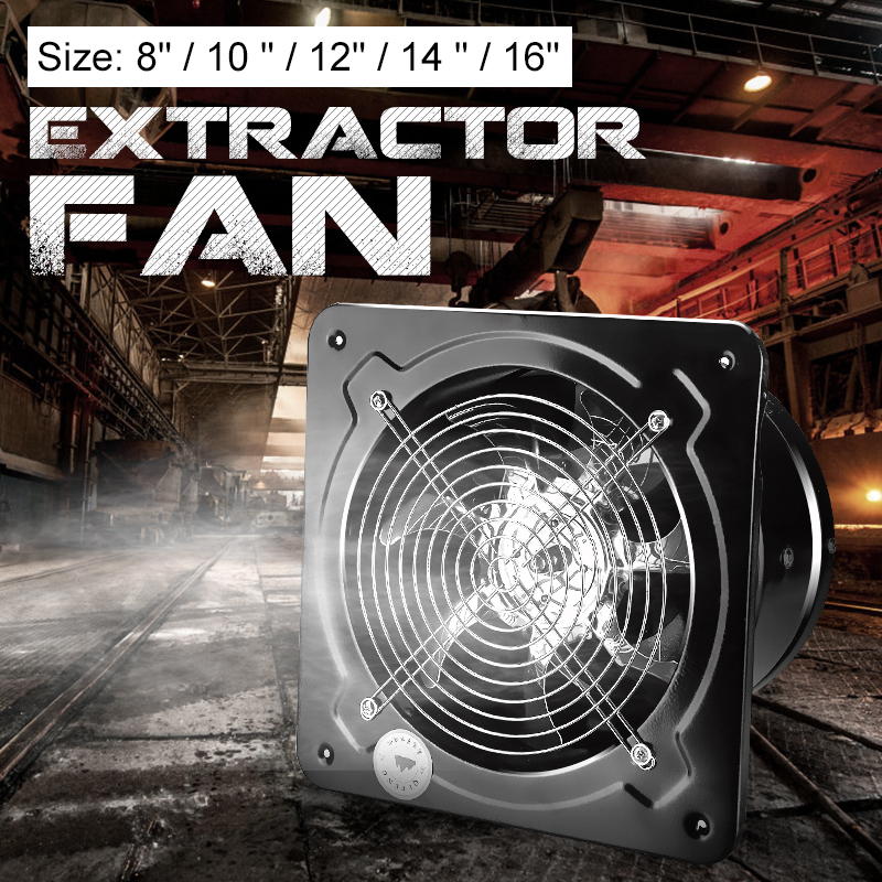 1x Kitchen Toilet Exhaust Fans Industrial Ventilation Extractor Metal Axial Exhaust Commercial Air Blower Fan 8 10 12 14 16