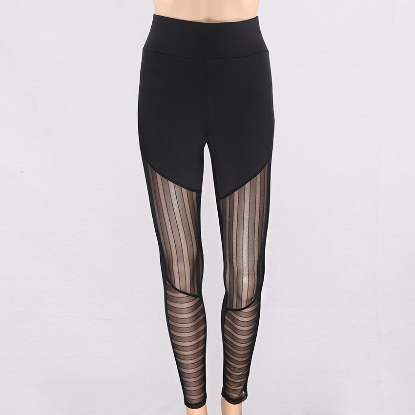 New Summer Striped Patchwork Women Mesh Legging Bodybuilding Elastic Sexy Leggings Sporting Fitness Solid Pants in Leggings from Women 39 s Clothing