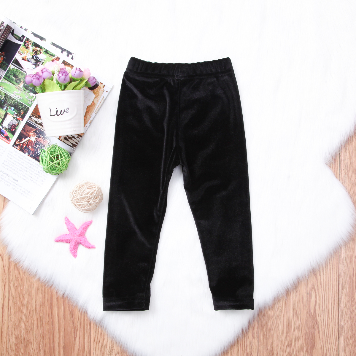 Newborn Baby Girls Bell Bottom Pleuche Pants Kids Long Flare Trousers Clothes in Pants from Mother Kids