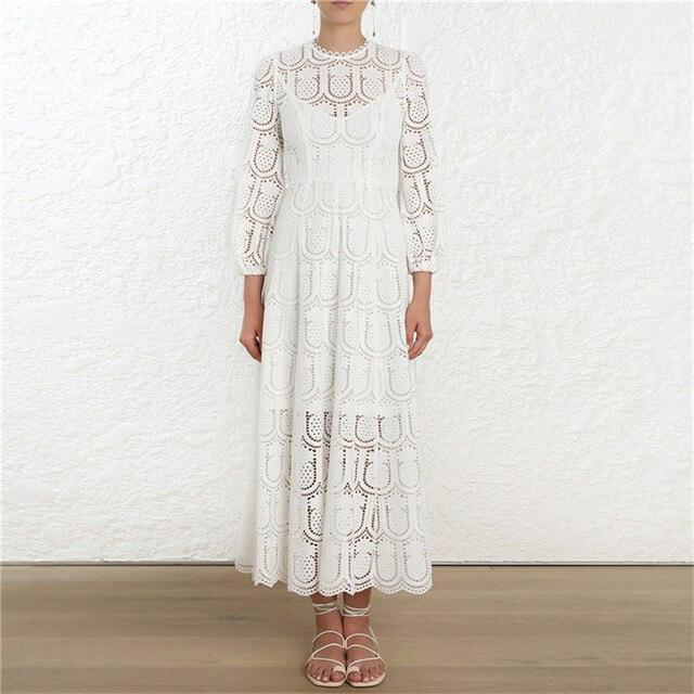 dabff4f0d41 2019 Spring Boho Beach Women White Pineapple Embroidery Midi Dress Runway  Designer High Waist Female Party