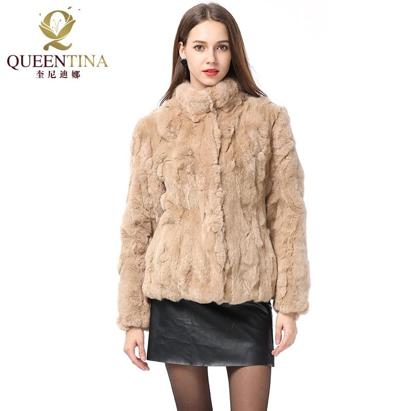 2018 New Real Fur Coat Fashion Genuine Rex Rabbit Fur Overcoats Elegant Women Winter Warm Outwear