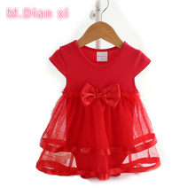 M.Dian xi Cotton Bow New Born Baby Dress with Baby Rompers Soft Baby Girls Infant Clothes Jumpsuit(China)