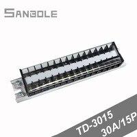30A/15 P Bağlantı Terminal bloğu şerit dağıtım sabit bariyer TD 3015 Bağlantı Plakası Plug in kelepçe terminalleri|Terminal Blokları|   -