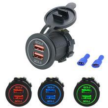 Двойной USB Quick Charge 3,0 светодиодный быстрое зарядное устройство для 12 V/24 V Авто Лодка мотоцикл внедорожник автобус; грузовик; легковой автомобиль аксессуары
