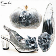 Capputine Italian In Women High Quality Shoes And Purse Set For Wedding Dress African Summer Pumps Shoes And Bag Set 5Colors