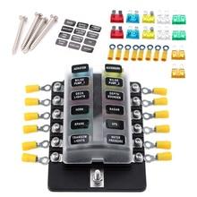 купить 12 Way Blade Fuse Box Holder Fuse Blocks with Red LED Indicator 10Pcs Fuses Terminals for Car Boat Marine Caravan Truck 12V 24V дешево