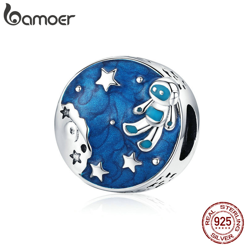 BAMOER Blue Enamel Round Beads Silver 925 Space Galaxy Astronaut Charm fit for European Fashion Brand Bracelet 3mm SCC1148BAMOER Blue Enamel Round Beads Silver 925 Space Galaxy Astronaut Charm fit for European Fashion Brand Bracelet 3mm SCC1148