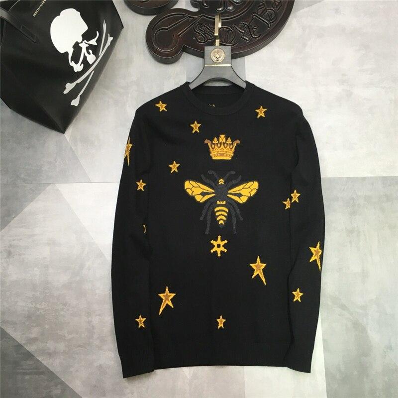 2019 printemps nouvelle mode arrivée marque Designer abeille étoile broderie pull pull vêtements O cou pour hommes