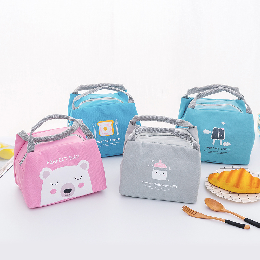 New Portable Student Insulation Pack Canvas Diaper Bag Food Picnic Bag Milk Bottle Pouch Children's Lunch Box Tote Wholesale