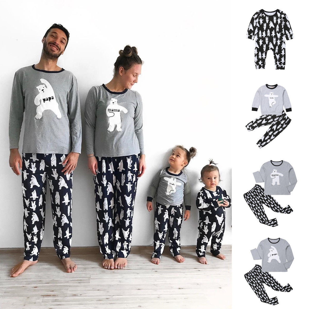 Christmas Informal Household Matching Pajamas Set Girls Males Child Youngsters Bear Print Sleepwear Nightwear Autumn Winter Garments
