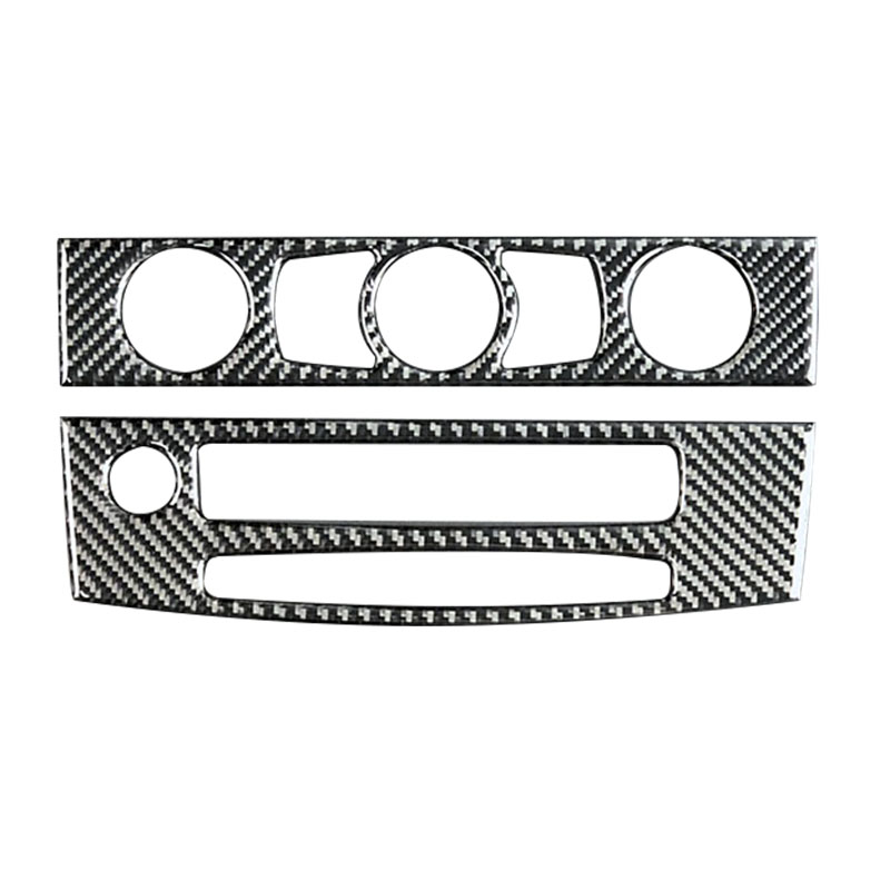 Carbon Fiber <font><b>Interior</b></font> Trim Air Conditioning Two Cd Control Panel Car <font><b>Styling</b></font> Stickers For <font><b>Bmw</b></font> <font><b>E60</b></font> 5 Series 2008-2010 Accessori image