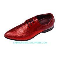 Red Black Silver Formal Business Shoes Flat heel Lace Mans Glitter Wedding Party Dress Oxfords