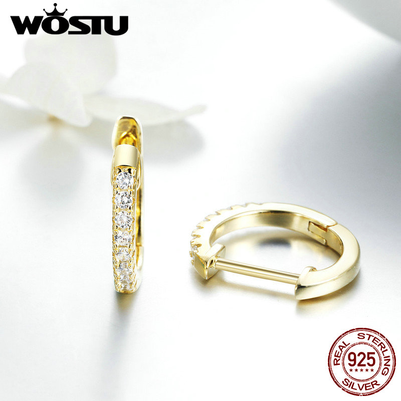 WOSTU Hot Sale 925 Sterling Silver & Gold Color Small Circle Hoop Earrings For Women Birthday Simple Noble Jewelry Gift CQE498 3