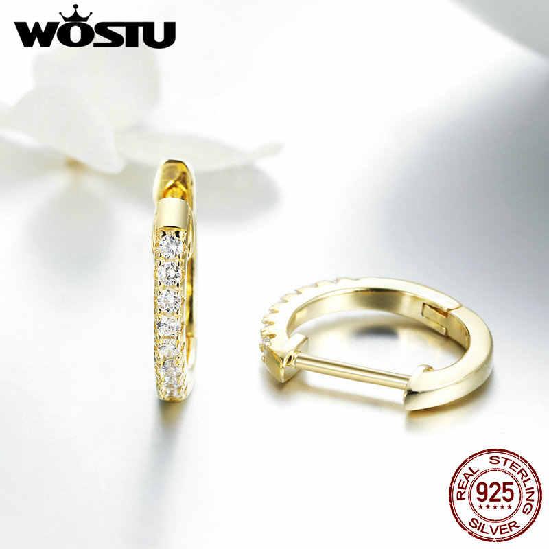 Wostu Hot Sale 925 Sterling Silver & Gold Warna Lingkaran Kecil Hoop Anting-Anting untuk Wanita Ulang Tahun Sederhana Mulia Perhiasan Hadiah CQE498