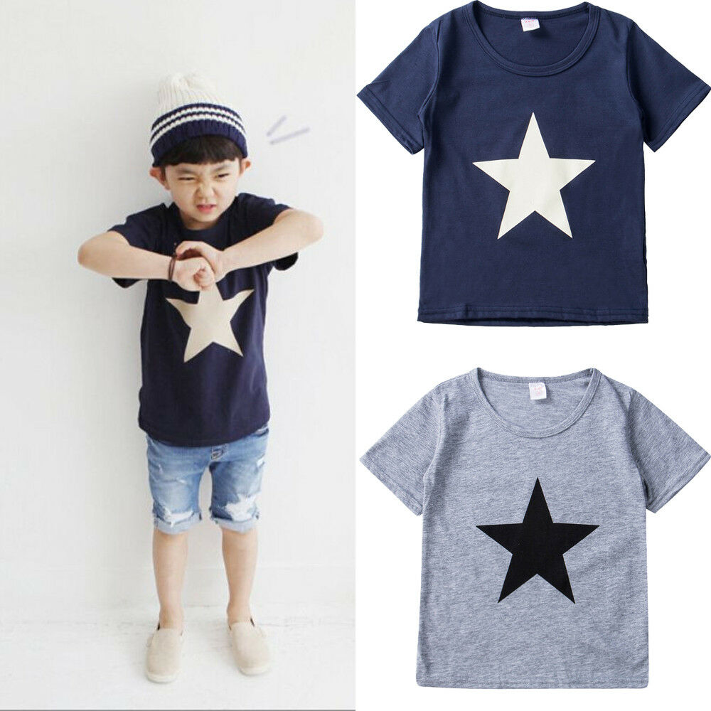 2019 Newest Style Hot Sale Toddler Kids Adorable Boys Summer T-Shirt Short Sleeve Children Cute Tops Tee Size 2-7Years