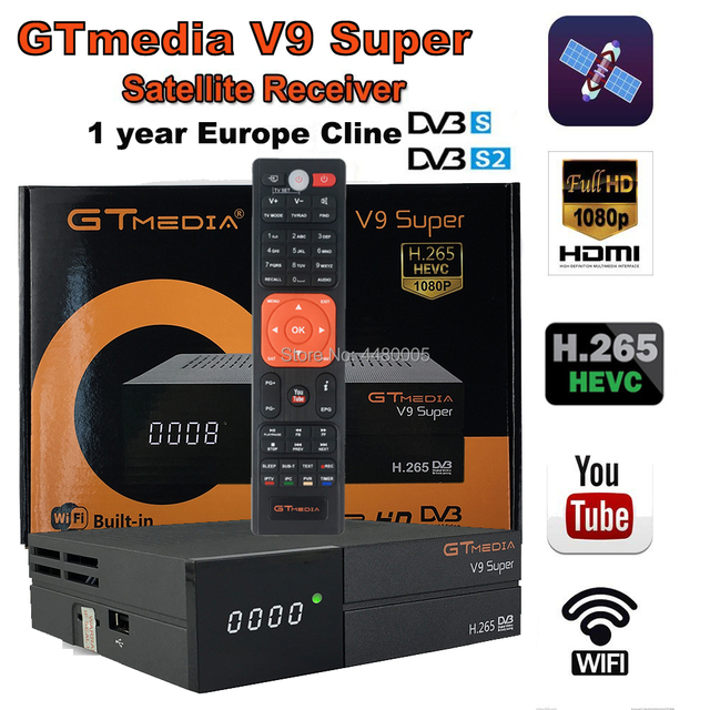 US $52 99 30% OFF|Gtmedia V9 Super Satellite Receiver with free cccam line  full cccam cline for 1 year europe Same as Gtmedia v8 nova dvb s2-in