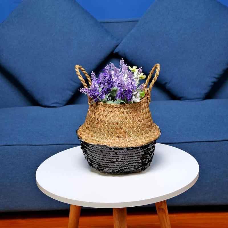 Artesanal de Bambu De Armazenamento Cestas de Lavanderia Dobrável de Palha Patchwork Rattan Grama Barriga Grande Cesta Plantador de Vaso de Flores Do Jardim