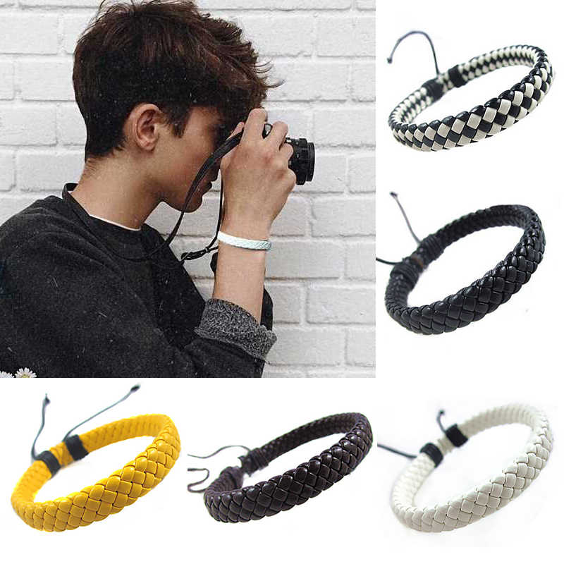 Rope  Men  Hand-woven  Fashion  Bracelet  Bangle  Surfer  Multi-color  Cuff  Adjustable 1 piece  Simple  Leather  Unisex