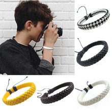 Rope Men Hand-woven Fashion Bracelet Bangle Surfer Multi-color Cuff Adjustable 1 piece Simple Leather Unisex(China)