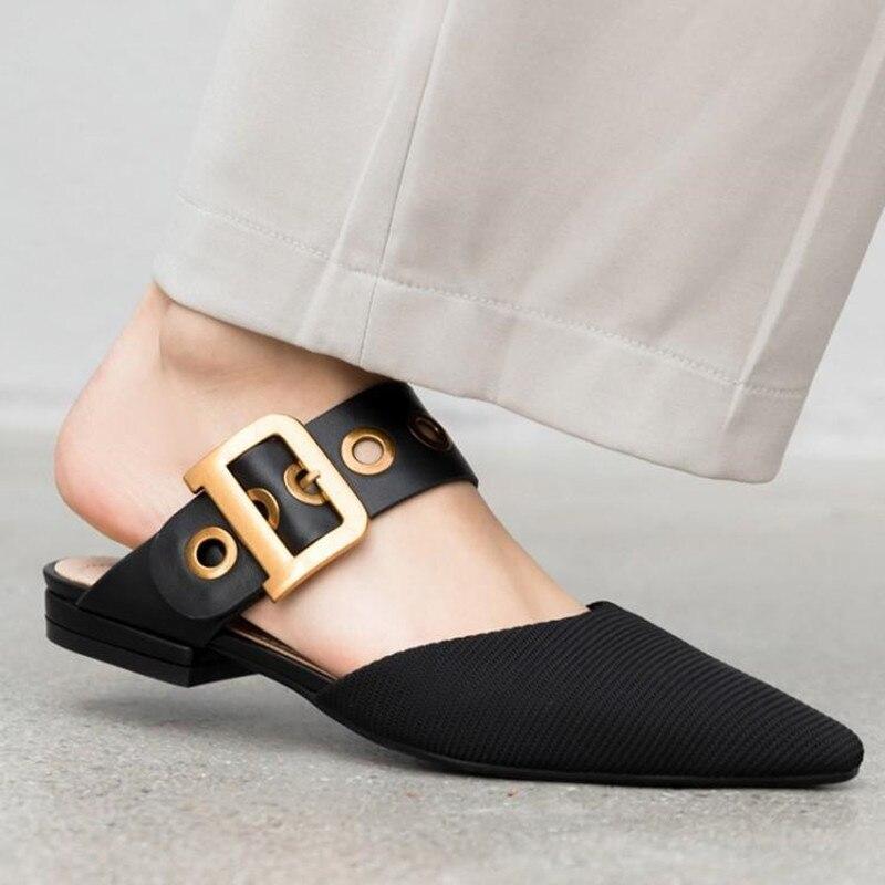 Bout Chaussures Femme Décontracté Métal Tissu Sexy Mules Pic Paresseux 19ss Pointu As Plat Dames L'extérieur Pantoufles Boucle Carré À Noir Ceinture De Luxe Doux Rnw1z