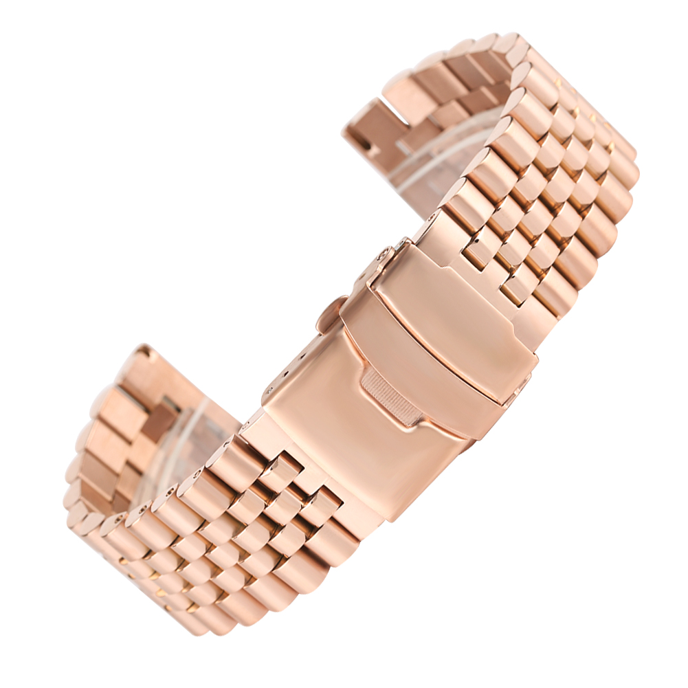 24 MM Argent/Noir/Or/Or Rose Solide acier inoxydable bracelets de montre fermoir pliant avec Sécurité coque de remplacement bracelet de poignet