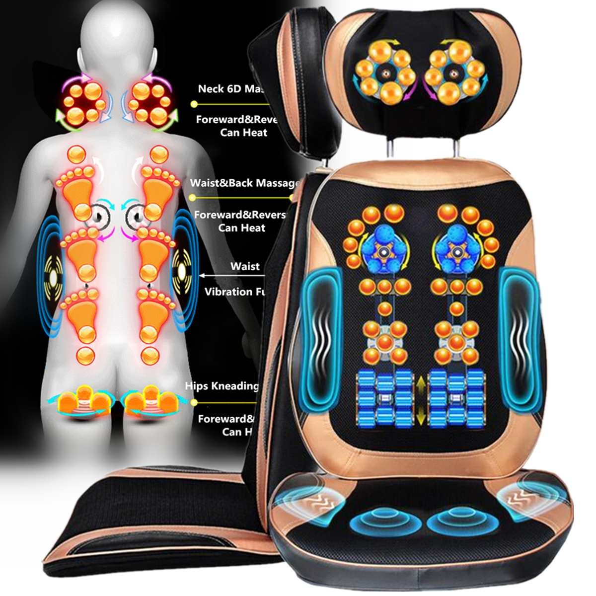 Antistress Full Body Electric Massage Cushion Heat Neck Back Cervica Shiatsu Massage Chair Compresses Vibration Kneading MassageAntistress Full Body Electric Massage Cushion Heat Neck Back Cervica Shiatsu Massage Chair Compresses Vibration Kneading Massage