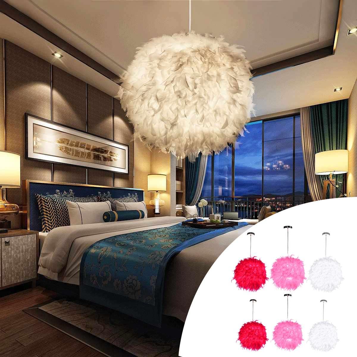 Red/Pink/White 110-220V E27 Modern Feather Ball Lamp Shade Ceiling Pendant Light Shade Bedroom Living Room Soft Safe Decor