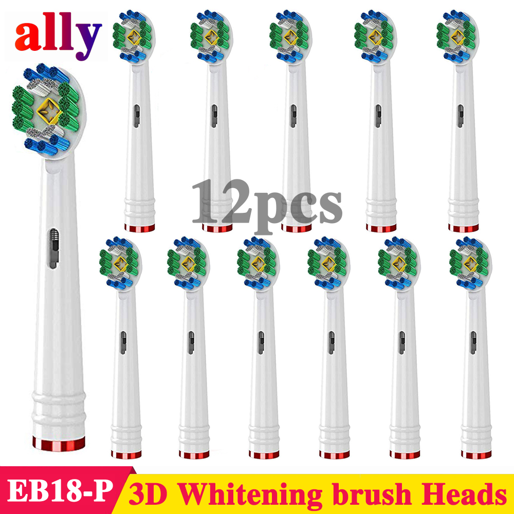 12X 3D Whitening Electric toothbrush heads Replacement For Braun Oral B Vitality Triumph D36 D29 Electric Toothbrush Heads image