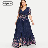 PickyourLook Evening Party Plus Size Dress For Women Summer Wedding Elegant Vintage Female Maxi Dress Short Sleeve Lady Vestidos