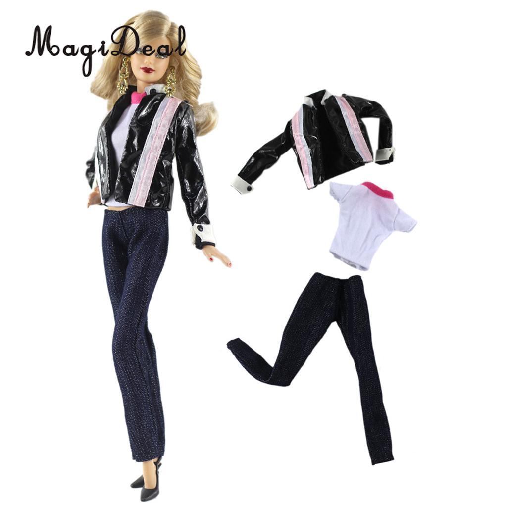 3Pcs Doll Outfit Set Leather Jacket Tops Pants For   Dolls Accs 30cm çerçevesiz güneş gözlük modelleri bayan