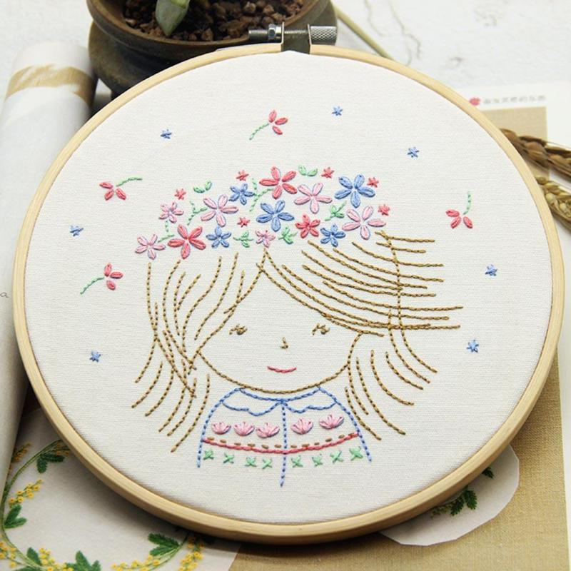 5pcs Bamboo Embroidery Hoops With 50 Colors Skeins Embroidery Thread Set New Sewing Accessories Knitting Machine