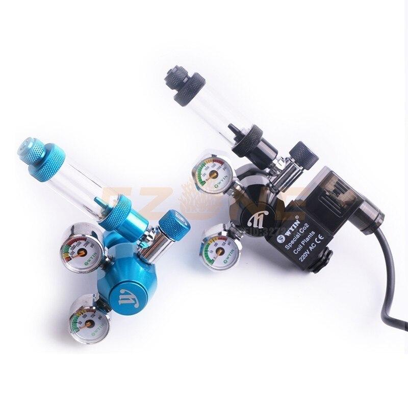 Chihiros acuario Wyin Mini doble calibre CO2 regulador con válvula de contador de burbujas de válvula de solenoide y Kits de instalación