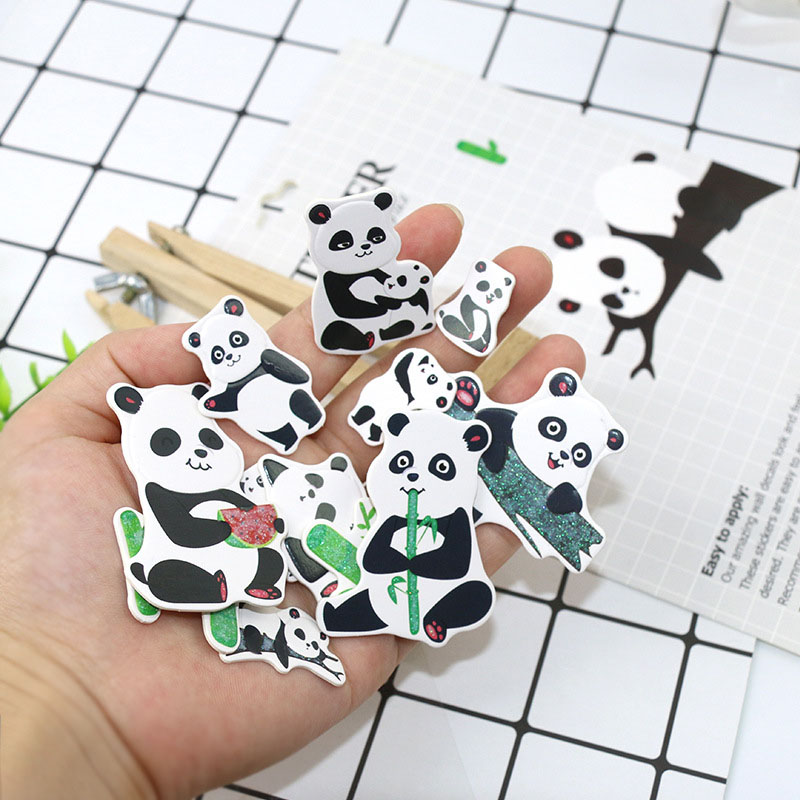 Kawaii Panda Stickers Cartoon Animal Decorative Paper Stickers Diy Diary Scrapbooking Accessories For Girls Gift School Supplie