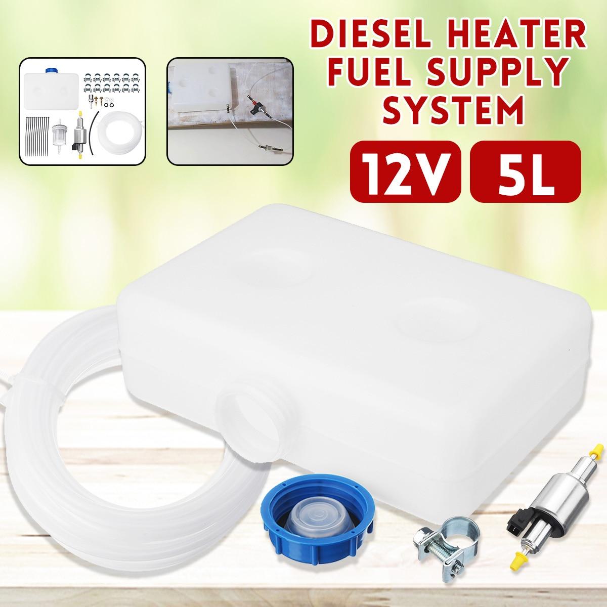 Date 2 trou 5L réservoir pompe à carburant filtre à huile buse ensemble pour bricolage 12 V Diesel réchauffeur d'air Thermostat voiture chauffage accessoires pièces