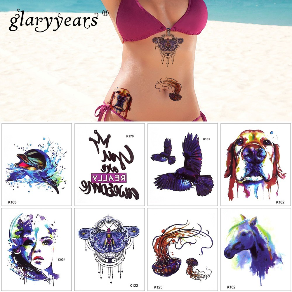 Glaryyears 1 Sheet Temporary Tattoo Sticker Colorful Fake Tatoo Dog Flash Tatto Waterproof Small Body Art Men Women WST-K