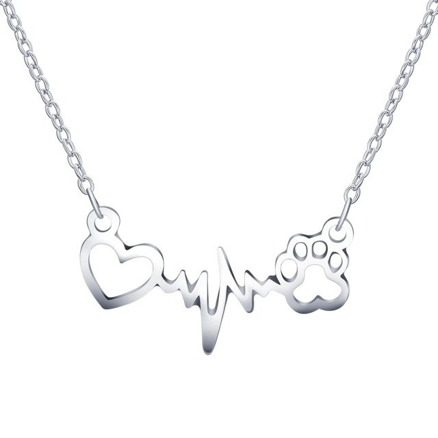 Lovely Paw Print Love Heart Heartbeat Pendant Chain Necklace 2