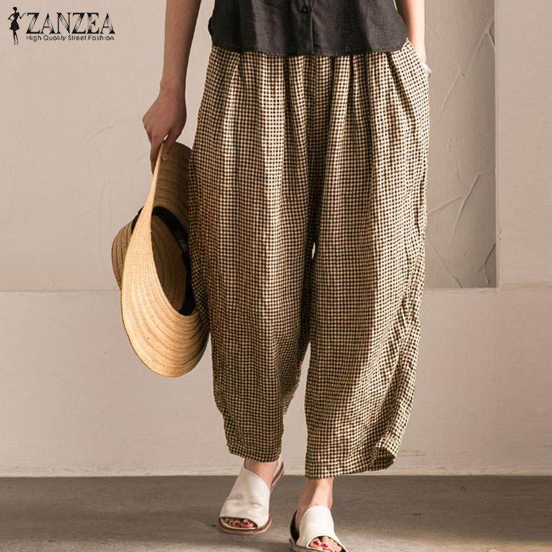ZANZEA 2018 Trousers Women Long   Pant   Vintage Women High Elastic Waist Casual Pantalon Femme Plus Size S-5XL Plaid   Wide     Leg     Pants