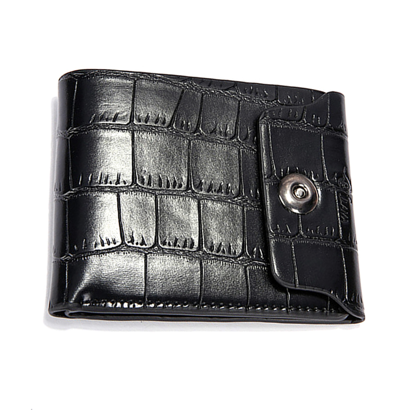 Bifold Wallet Alligator-Pattern Purse Card-Holder Coin Multifunction ID Man Hasp Solid-Color