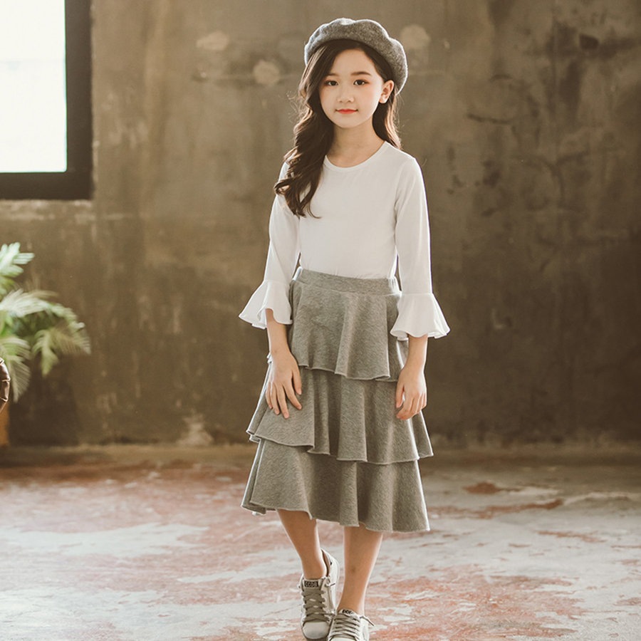 Teenage Girl Clothing Set 8 9 10 11 12 Years Fashion White Long Sleeve T-shirt + Layered Skirt Kids Lovely Suit For GirlsTeenage Girl Clothing Set 8 9 10 11 12 Years Fashion White Long Sleeve T-shirt + Layered Skirt Kids Lovely Suit For Girls